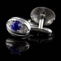 Manžetové gombíky oválne s fialovo-modrý kameň
