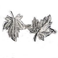 Manžetové gombíky javorový list silver