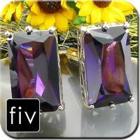 Manžetové gombíky striebornej farby s fialovým obrovským kamenom