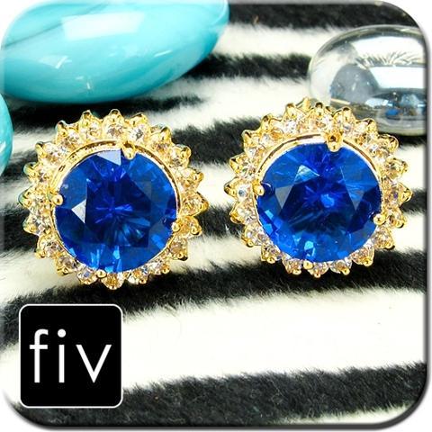Manžetové gombíky zlatá farba s modrým cryštálom