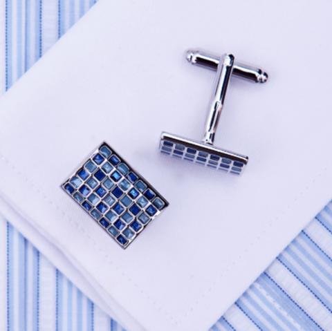 Manžetové gombíky modrá mozaika - 1