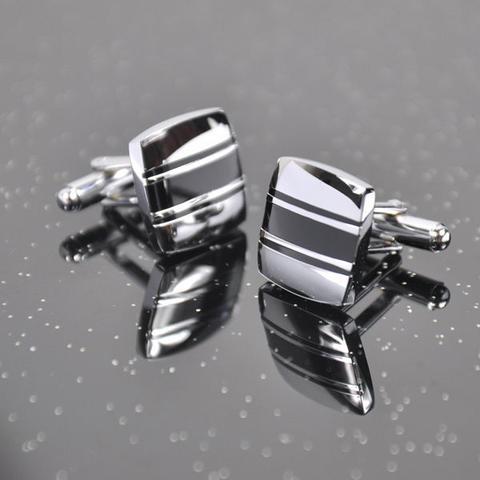 Manžetové gombíky ocel - tri pruhy