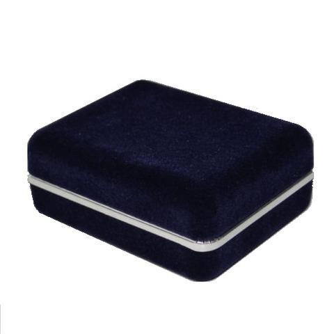 Krabička na manžetové gombíky - tmavo modrá semiš - 1