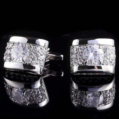 Manžetové gombíky luxusné zirkón strieborný - 1