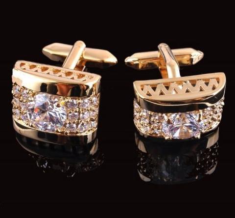 Manžetové gombíky luxusné zirkón zlatý - 1