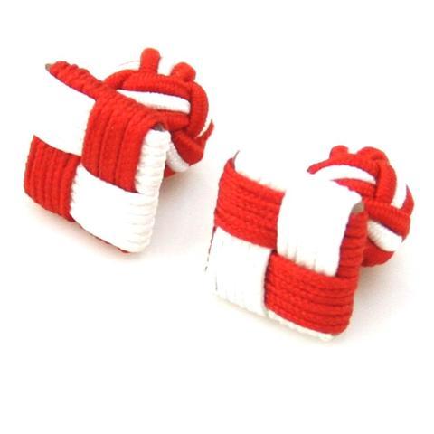 Manžetové gombíky elastické červenobiely