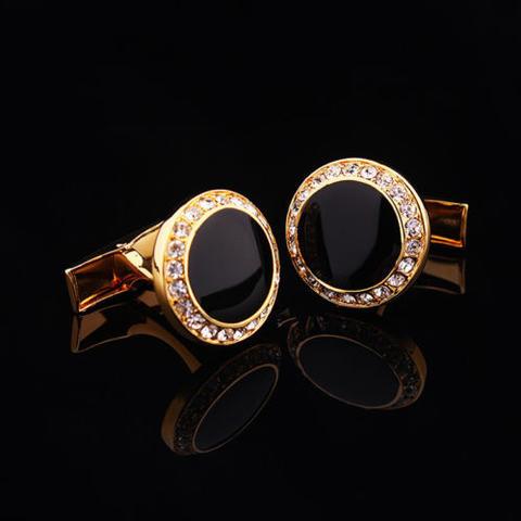 Manžetové gombíky okrúhly čierny kryštál s kamienkami - 1