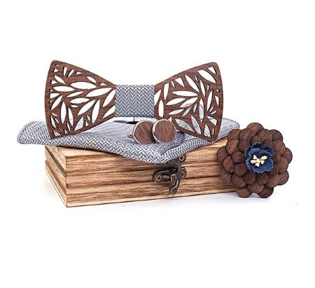 Drevené manžetové gombíky s motýlikom Veles