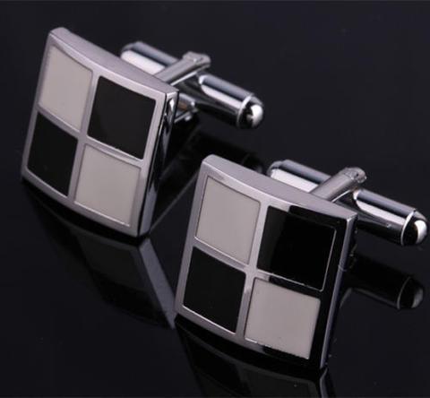 Manžetové gombíky bielo-čierna mozaika - 1