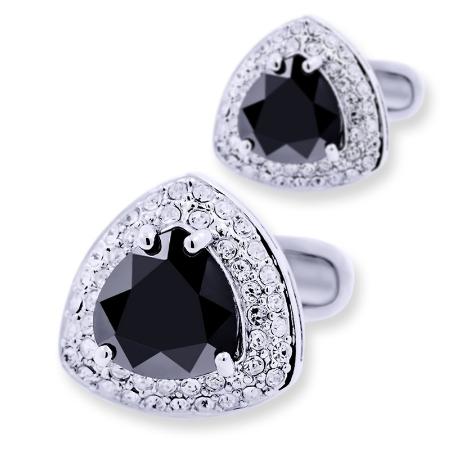 Manžetové gombíky triangel čierny - 1