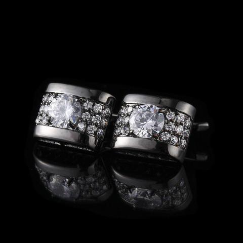 Manžetové gombíky luxusné zirkón čierna