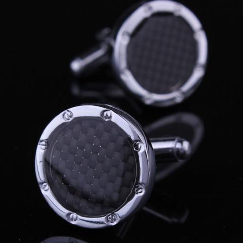 Manžetové gombíky čierne okrúhle - 1