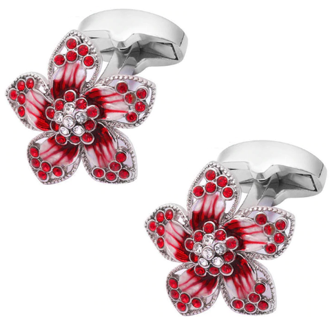 Manžetové gombíky rubínová kvetina