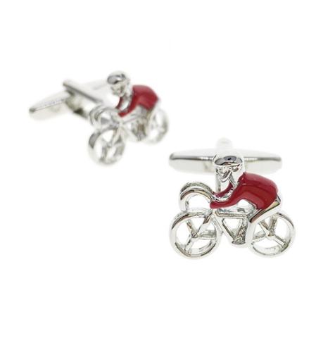 Manžetové gombíky červený cyklista - 1
