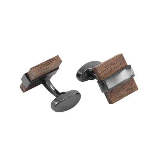Manžetové gombíky drevo štvorček - 1