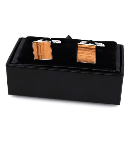 Manžetové gombíky drevený štvorček - 1
