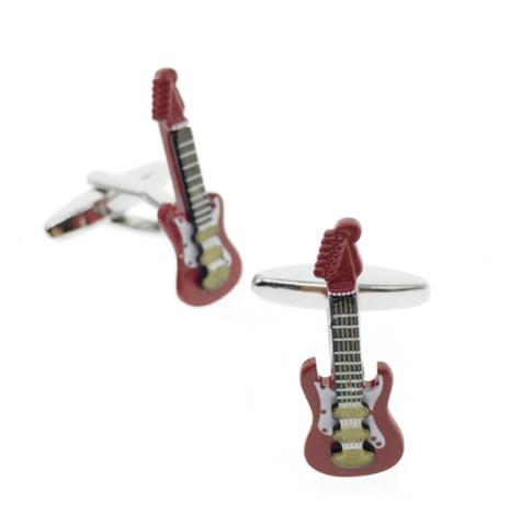 Manžetové gombíky elektrická gitara červená - 1