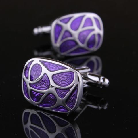 Manžetové gombíky fialová mozaika - 1
