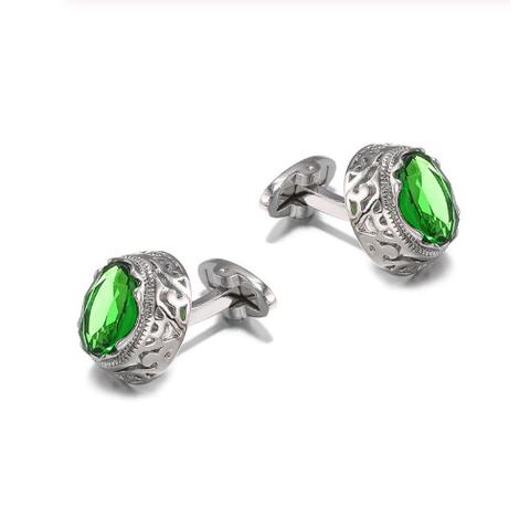 Manžetové gombíky zelený kameň - 1