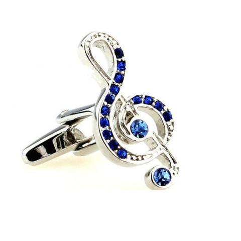 Manžetové gombíky husľový kľúč modré kamienky - 1