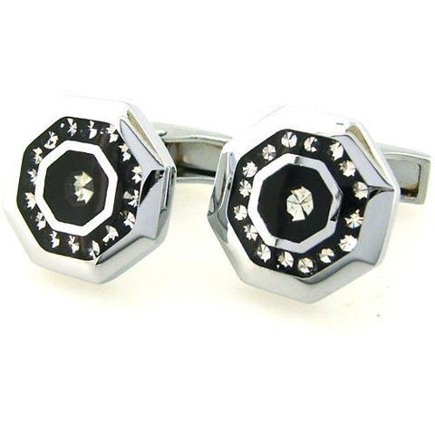 Manžetové gombíky osemuholníkovej z ocele a kamienky - 1