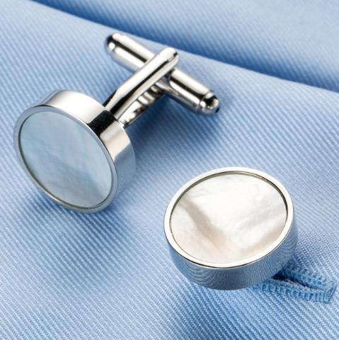 Manžetové gombíky okrúhle s perleťou - 1