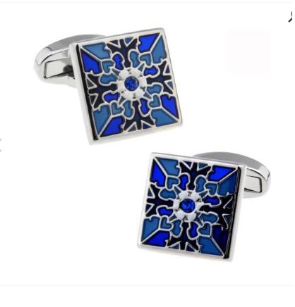 Manžetové gombíky modrý kvet - 1