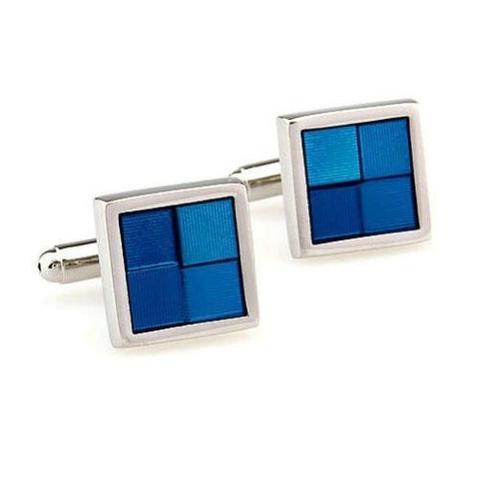 Manžetové gombíky modré štvorčeky - 1