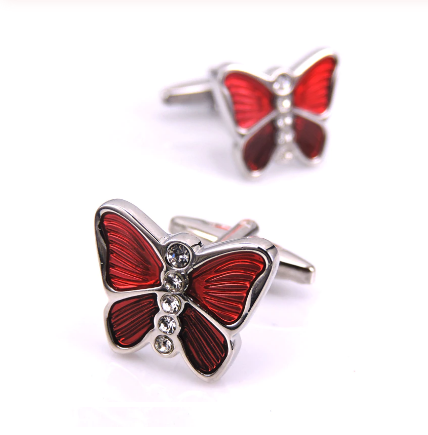 Manžetové gombíky Červený Motýľ
