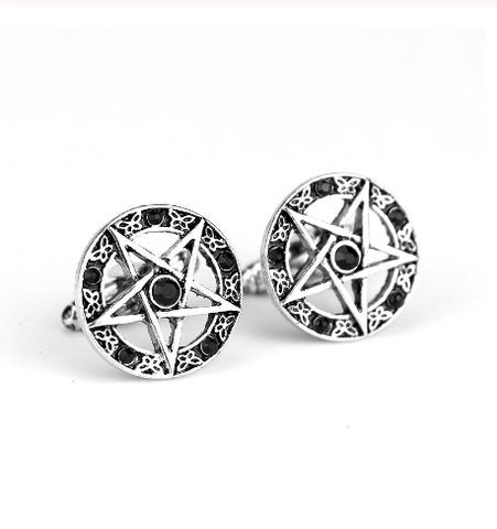 Manžetové gombíky päťcípa hviezda pentagram - 1