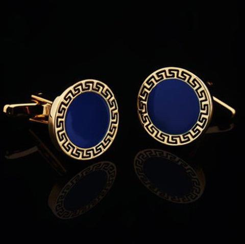Manžetové gombíky grécky znak modré - 1