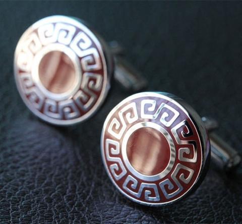 Manžetové gombíky grécky znak okrúhle - 1