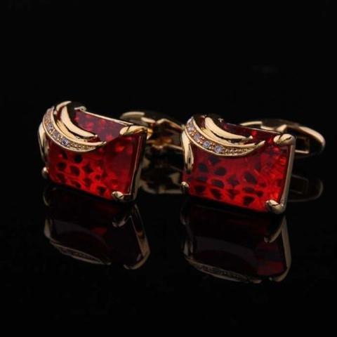 Manžetové gombíky rubínovej farby gold - 1