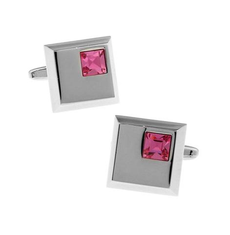 Manžetové gombíky svetlo ružový kryštál - 1