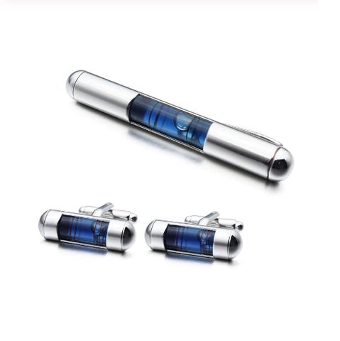 Manžetové gombíky so sponou na kravatu vodováha - 1