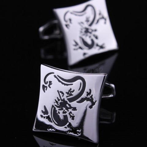 Manžetové gombíky drak silver - 1