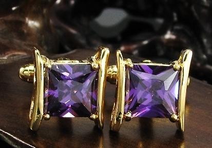 Manžetové gombíky zlatá farba s fialovým cryštálom