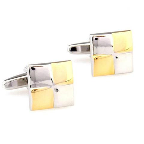 Manžetové gombíky zlato-bielo štvorca