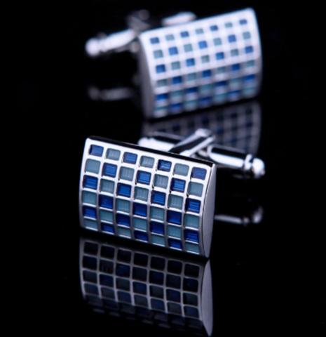 Manžetové gombíky modrá mozaika - 2