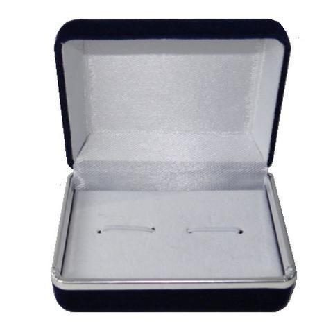Krabička na manžetové gombíky - tmavo modrá semiš - 2