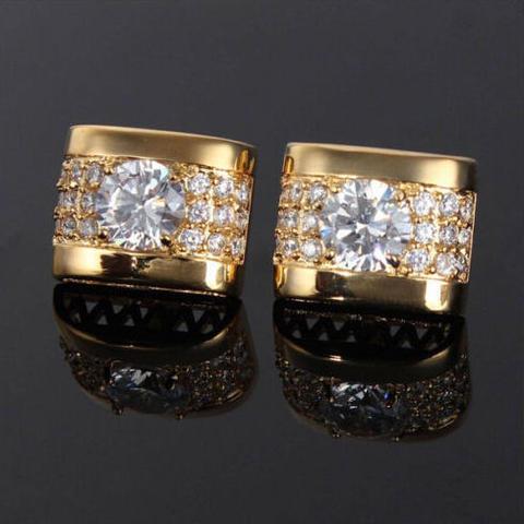 Manžetové gombíky luxusné zirkón zlatý - 2