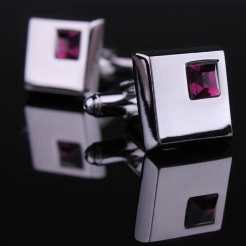 Manžetové gombíky - tmavo fialový kryštál - 2