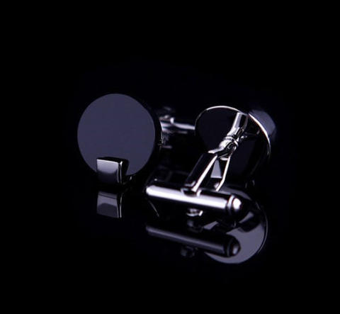 Manžetové gombíky čierne okrúhle - 2