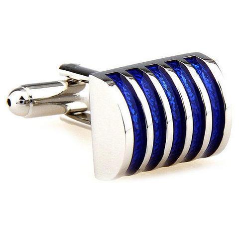 Manžetové gombíky modré pruhy - 2
