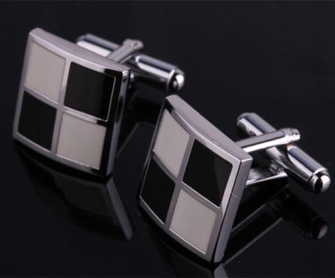 Manžetové gombíky bielo-čierna mozaika - 2