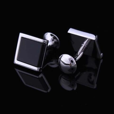 Manžetové gombíky s čierným vsadeným štvorcom - 2