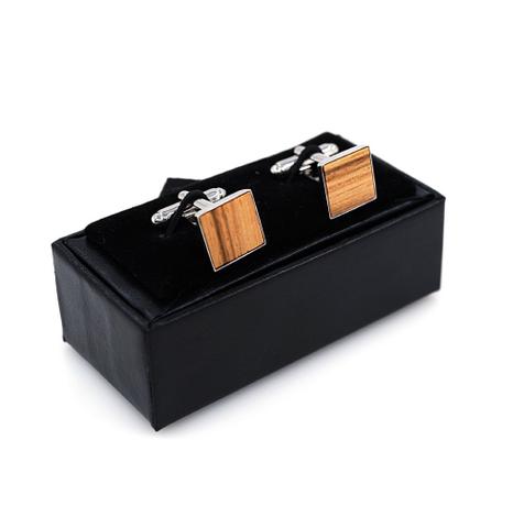 Manžetové gombíky drevený štvorček - 2
