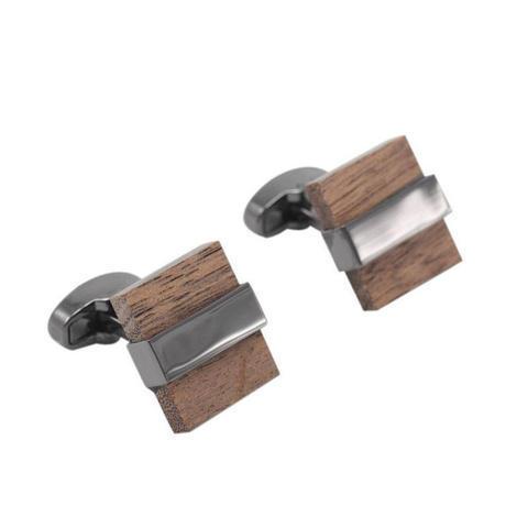 Manžetové gombíky drevo štvorček - 2