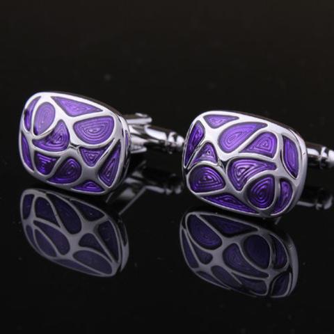 Manžetové gombíky fialová mozaika - 2
