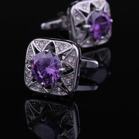 Manžetové gombíky fialový kameň - 2
